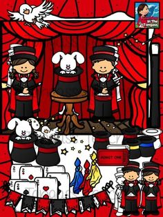Magic Clipart Bundle from tongassteacher on TeachersNotebook.com -  (54 pages)  - This 54 piece clipart bundle features a huge variety of magic themed graphics! The bundle includes magician boy and girl, dove and bunny in a magician's hat, dove, playing cards, scarves/handkerchiefs