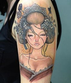 Geisha Pin Up Tattoo – David Corden. I think its actually an Audrey Kawasaki reproduction but it is done really well.
