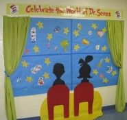 I love this curtain-window idea for a bulletin board. Wouldn't it be great to have a blank one in which students could draw what they see outside their window and pin it on the board? Maybe put small numbers on the drawings that would correlate to a descriptive essay about each item on the board, and tack the essays nearby.