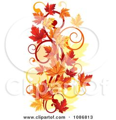 fall tattoos | Clipart Vertical Autumn Leaf Swirl - Royalty Free Vector Illustration ...