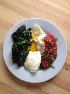 breakfast of farm eggs, kale, tomatoes and basil
