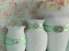 Wedding Centerpiece, Wedding Decor, Shabby Chic Wedding, Shabby Chic, Light Green, Country Wedding, Baby Shower, Bridal Shower, Mint Green on Etsy, $29.00