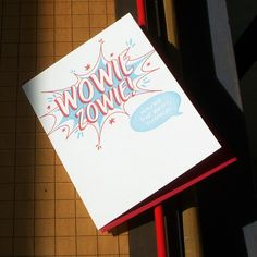 Possible thank you cards, comic book style wowie zowie. $4.50, via Etsy.