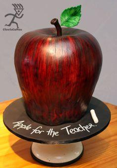 "A 13"" high Apple for my Teacher Sister - by Ciccio @ CakesDecor.com - cake decorating website"