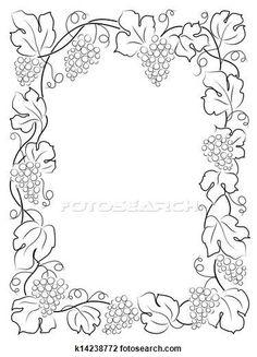 Clip Art of black calligraphy frame wine label vine grapes