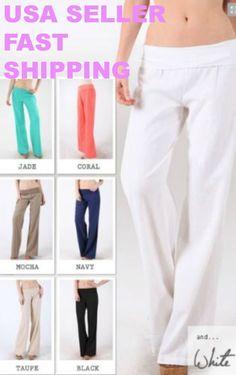 New Women's Summer LOVE TREE Fold Over Linen soft YOGA Pants S,M,L SIZES
