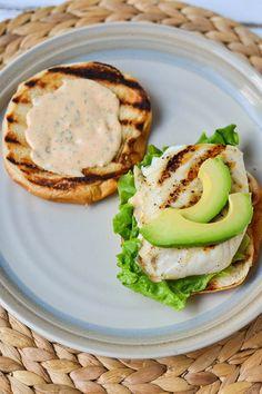 grilled fish sandwiches + smoked paprika, lemon + garlic aioli.