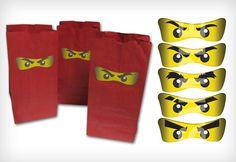 favor bags, ninjago goodie bags, birthday goodie bags for boys, eye digit, bag eye, kidfriend idea, parti idea, ninjago parti, goodi bag
