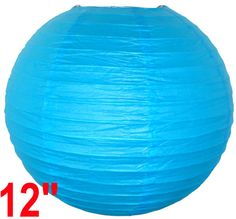 """12"""" Aquamarine Blue Chinese Japanese Paper Lantern  Diameter: 12""""  Expanding with a metal frame  Bulb and cord are not included"""