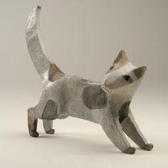 Anna Noel: Cat.  Hand modelled and raku fired. 27 cms high.