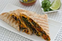 Kale & Sweet Potato Quesadillas w/ no cheese!