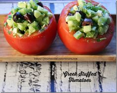 Seriously delicious, light, low-carb and quick way to use up that summer tomato surplus! Greek Stuffed Tomato - YoursAndMineAreOurs.com growing herbs, stuf tomato, tomato recipes, tomato grow