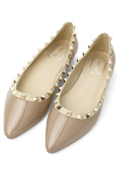 Rockstud Ballerina Flats in Nude - Shoes - Goods - Retro, Indie and Unique Fashion
