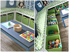 Ikea bookshelves laid on their sides with baskets for toy storage