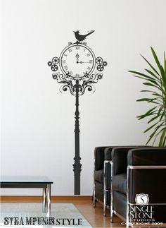 steampunk clock wall decal !