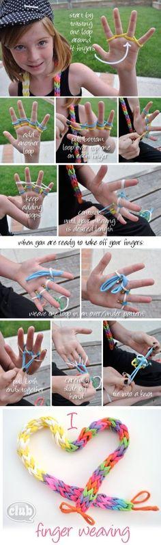 finger weaving tutorial. #diy #craft www.BlueRainbowDesign.com by Bluheart