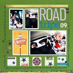 Road Trip Scrapbook Layout www.fiskars.com