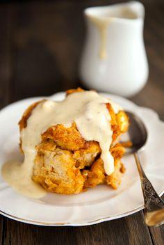Recipe: pumpkin bread pudding with bourbon vanilla sauce