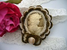 Victorian Young Lady Cameo Brooch Hand Crochet by CraftsbySigita on Etsy
