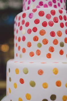 dotted wedding cake detail, photo by Mel Nocks Photography http://ruffledblog.com/whimsical-greenville-wedding #weddingcake #cakes