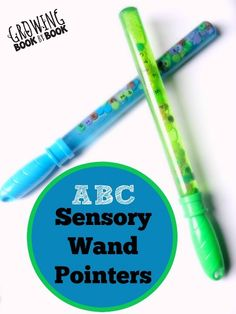 ABC Sensory Wand Pointers a great recycling activity, sensory activity and literacy learning opportunity from growingbookbybook.com