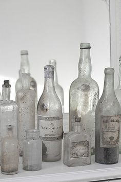 Collection of silvery old bottles