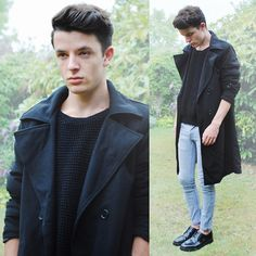 Black Sweater & Light Blue Jeans