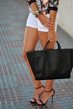 short, color, bag, heel, street styles, shoe, flower, stripe, shirt