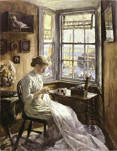 """Stanhope Forbes,   """"The Harbour Window"""""""
