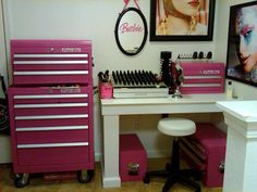 Makeup room with pink tool boxes to store all your things!
