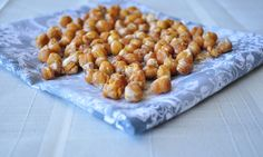 Maple Roasted Chickpeas.  A seriously addicting and healthy snack!  Great to curb a sweet tooth.  My kids love these!