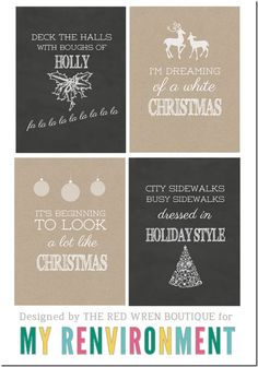 Free Christmas Journal Cards for Project Life from My Renvironment