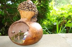 Gourd Fairy House - Adding Pinecone shingles