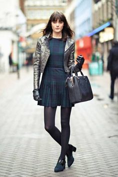 Toughen up proper plaid with a cool motorcycle jacket #streetstyle #London