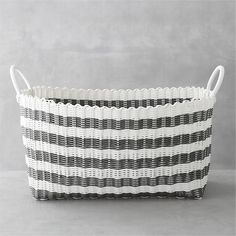 grey/white laundry hamper :: crate + barrel