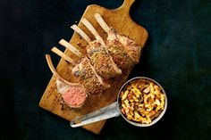 Recipe: Parmesan-Crusted Rack of Lamb | Photo: Sarah Anne Ward for The New York Times. Food stylist: Maggie Ruggiero. Prop stylist: Maeve Sheridan.