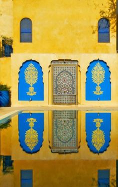 Morocco- bright blue  yellow | Listed as one of my favorite places to visit - vote for me to travel and volunteer around the globe! http://www.bestjobaroundtheworld.com/submissions/view/6797 #GetawayDiscoverGiveback #GADGB #Morocco