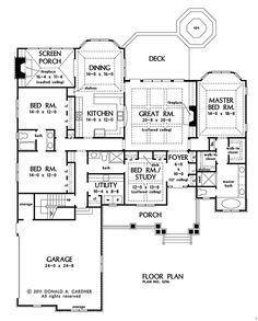 First Floor Plan of The Wilkerson - House Plan Number 1296  //2491 sq ft // 4 bed,3 bath
