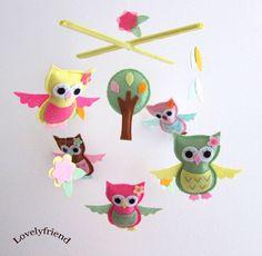 little girls, crib mobiles, gift, baby mobiles, owl babies, nurseri, felt owls, christmas ornaments, baby cribs