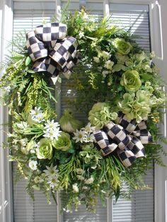 Spring Summer Green White Sisal Bird Butterflies Grapevine MacKenzie Childs Ribbon Floral Door Wreath.