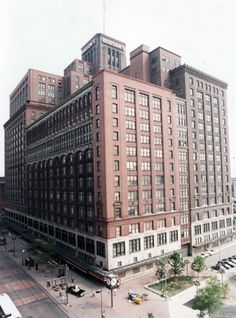 Detroit history;The old Hudson's Building, once the largest department store in the world.  1983.