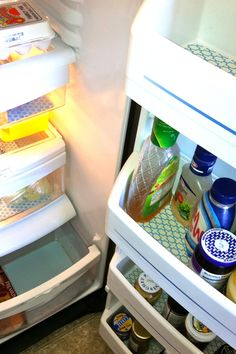 Fridge Coasters absorb condiment drips and look pretty inside all my bins.