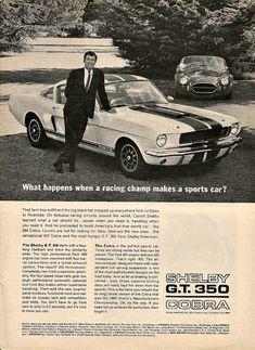 "CARROLL SHELBY Cobra 427 & GT 350 1966 Ad ""Racing Champ Makes A Sports Car"" Vintage Classic Print"