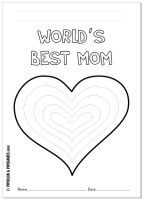 """World's Best Mom"" Mother's Day coloring page/card freebie   #mothersday"