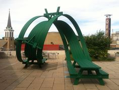 A Vertical Loop Picnic Table by Michael Beitz wood sculpture furniture