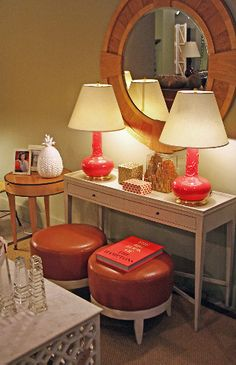 Coral colored #Spitzmiller #lamps and upholstered leather #stools at #Chicago #Mecox #interiordesign #MecoxGardens #furniture #shopping #home #decor #design #room #designidea #vintage #antiques #garden