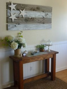 Flag Sign Idea - made from 4 pieces of salvaged wood and a few wooden stars. How cute!