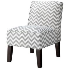 Armless Upholstered Accent Slipper Chair - Grey Chevron
