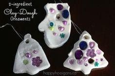 2-ingredient White Clay Dough ornaments! So easy, so pretty!  (happy hooligans)