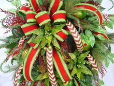 XL Christmas Door or Wall Wreath by LadybugWreaths on Etsy, $139.97